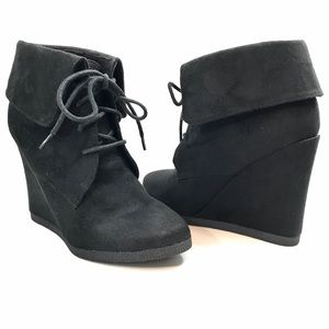 Black Suede Wedge Ankle Bootie Lace Up Vegan